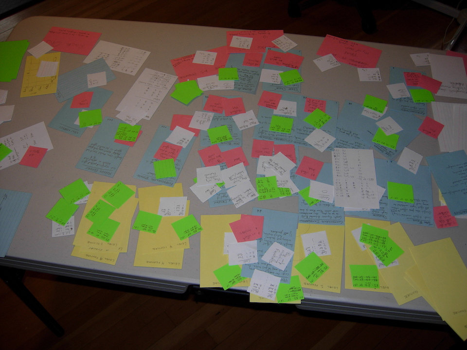 Picture of a table full of index cards and post-it notes. It looks like a confusing mess.