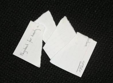 [A picture of a ripped up story card]