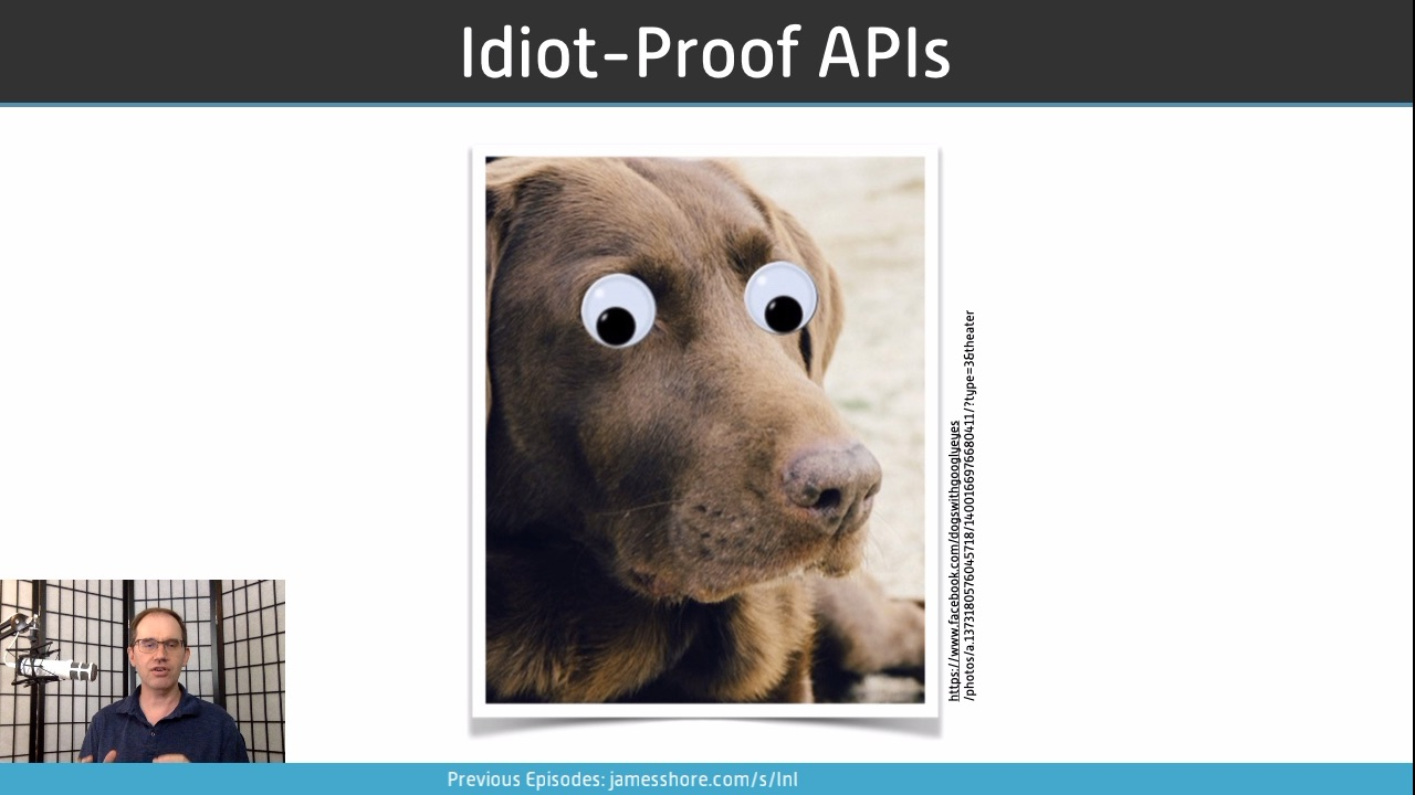"Screenshot of ""Idiot-Proof APIs"" episode"