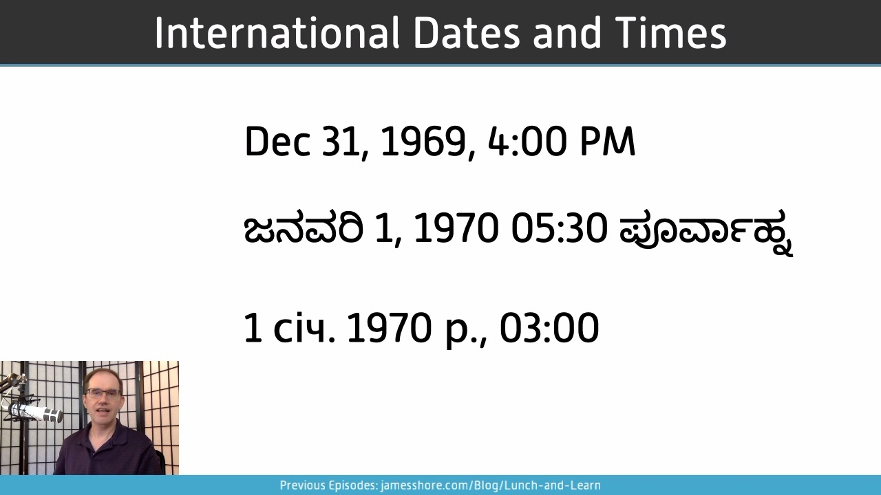 "Screenshot of ""International Dates and Times"" episode"