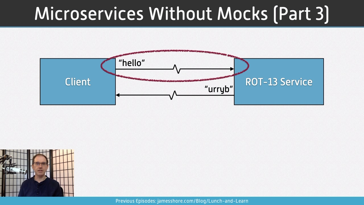 "Screenshot of ""Microservices Without Mocks, Part 3"" episode"