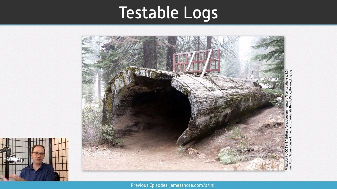 "Screenshot of ""Testable Logs"" episode"