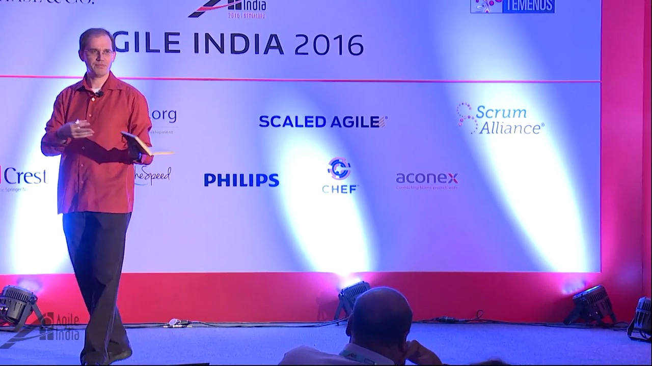 Picture of James Shore at Agile India conference